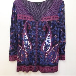 Lucky Brand Purple and Blue Paisley Top size M